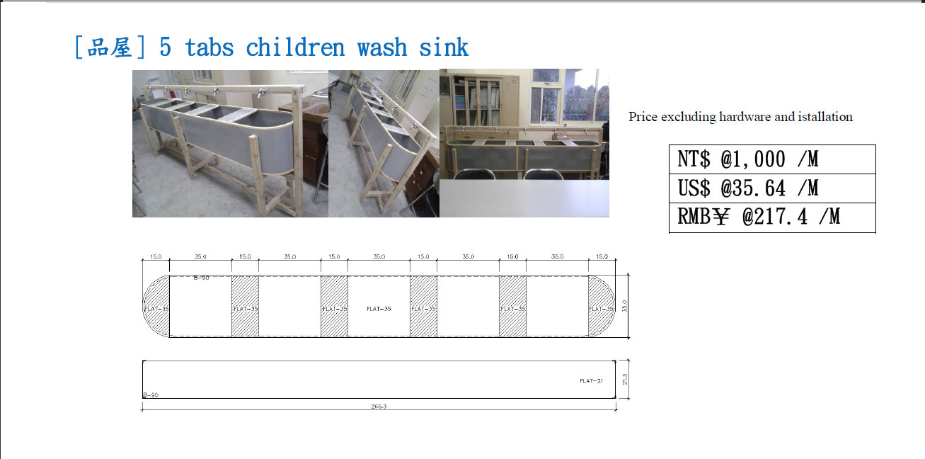 G-35, 5 tabs children wash sink